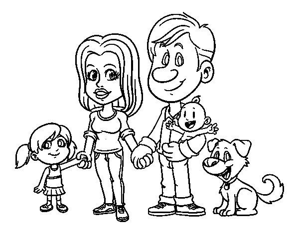 Desenho de Uma família unida para Colorir