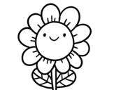 Desenho de Uma flor sorridente para colorear