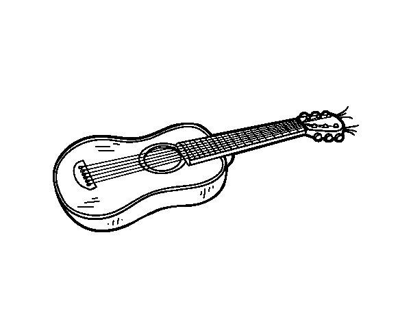 Desenho de Uma guitarra acústica para Colorir