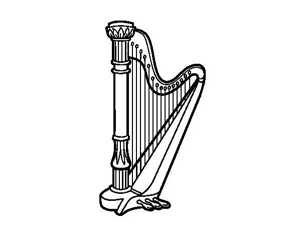 Desenho de Uma harpa para Colorir