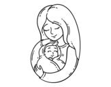 Desenho de Uma mãe e seu bebê para colorear