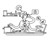 Dibujo de Uma mãe multitarefa