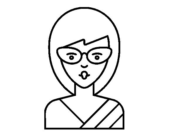Desenho De Uma Menina Com óculos Para Colorir