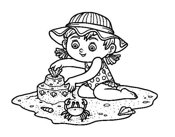 Desenho de Uma menina que joga na praia para Colorir