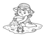 Desenho de Uma menina que joga na praia para colorear