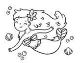 Desenho de Uma sereia feliz para colorear