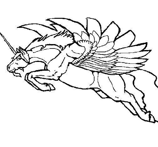 Desenho de Unicórnio alado para Colorir