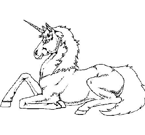 Desenho de Unicórnio sentado para Colorir