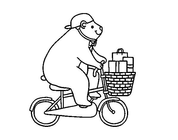 Desenho de Urso ciclista para Colorir