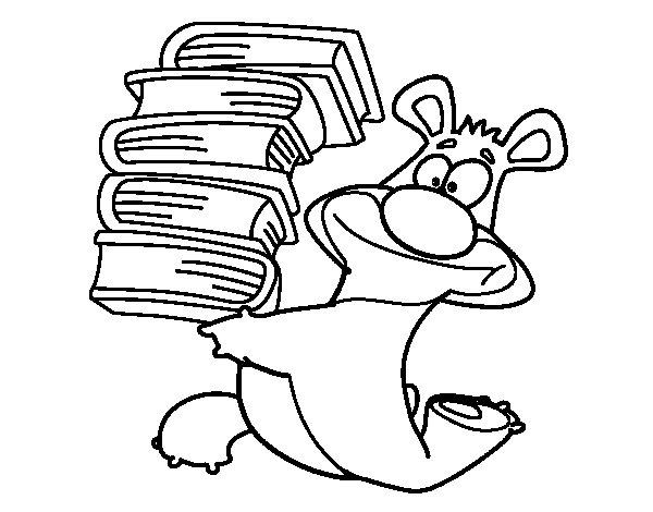 Desenho de Urso com livros para Colorir