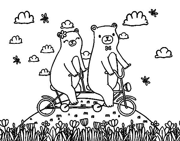 Desenho de Ursos do amor para Colorir