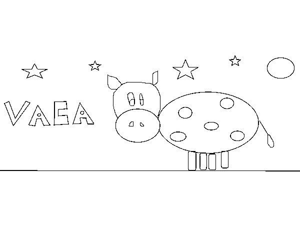 Desenho de Vaca e estrelas para Colorir