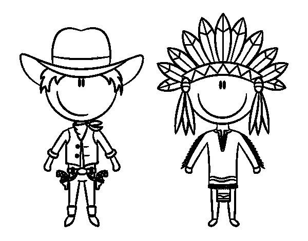 Desenho de Vaqueiro e índio contentes para Colorir