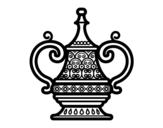 Desenho de vaso árabe para colorear