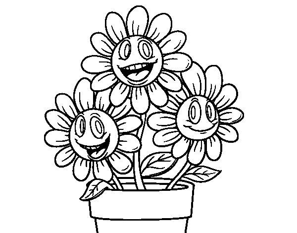Desenho de Vaso de flores para Colorir