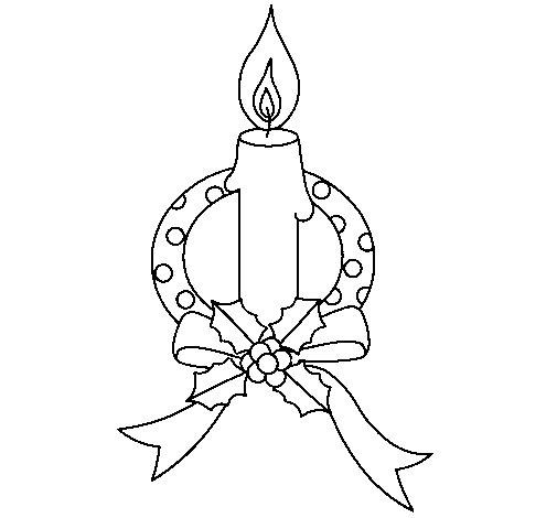 Desenho de Vela de natal III para Colorir