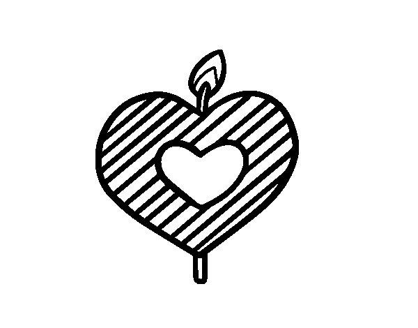 Desenho de Vela em forma de coração para Colorir