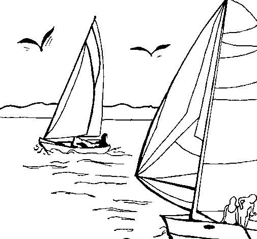 Desenho de Velas em alta mar para Colorir