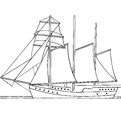 Desenho de Veleiro de três mastros para Colorir