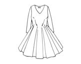 Desenho de Vestido com saia rodada para colorear