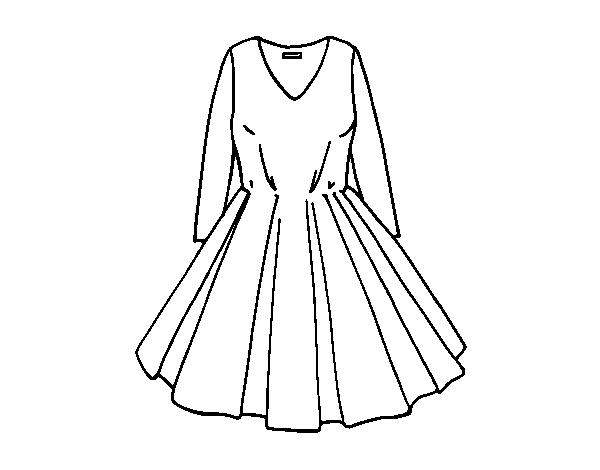 Dibujos De Vestidos Para Colorear E Imprimir: Desenho De Vestido Com Saia Rodada Para Colorir