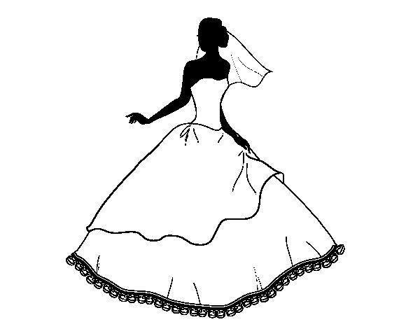 Desenho de Vestido de casamento para Colorir