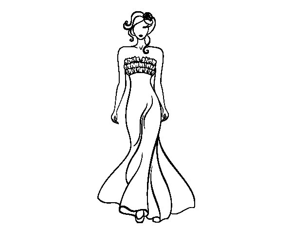 Desenho de Vestido de casamento elegante para Colorir