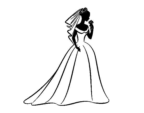 Desenho de Vestido de casamento i véu  para Colorir