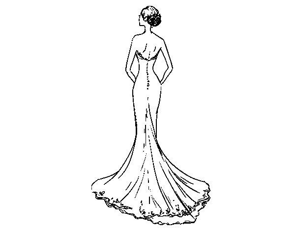 Desenho de Vestido de noiva com cauda para Colorir