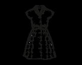 Desenho de Vestido pinup para colorear