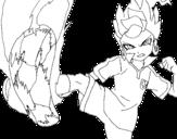 Desenho de Victor Blade chutando para colorear
