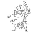 Desenho de Viking ataque para colorear