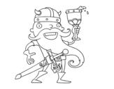 Desenho de Viking celebrando para colorear