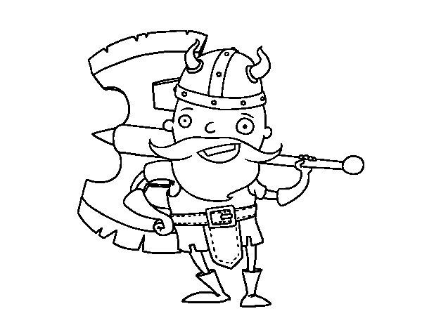 Desenho de Viking com machado grande para Colorir