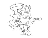 Desenho de Viking com machado grande para colorear