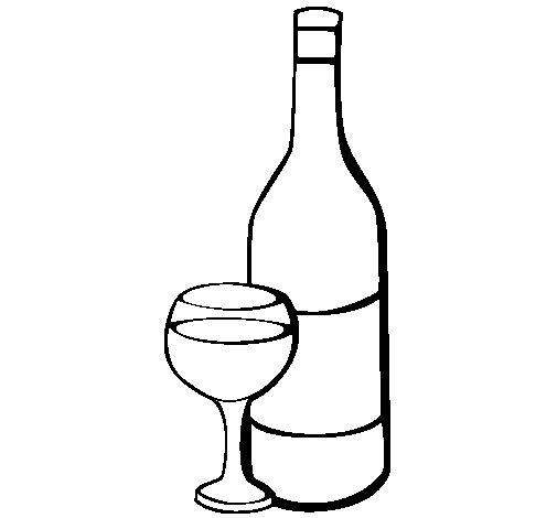 Desenho de Vinho para Colorir