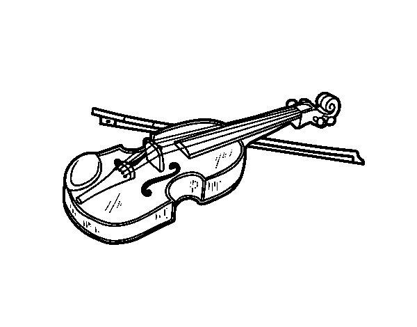 Desenho de Violino Stradivarius para Colorir