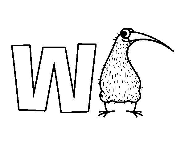 Desenho de W de Kiwi para Colorir