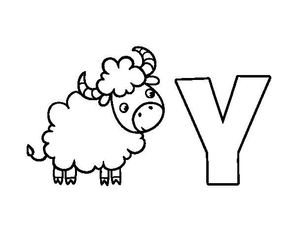 Desenho de Y de Yak para Colorir