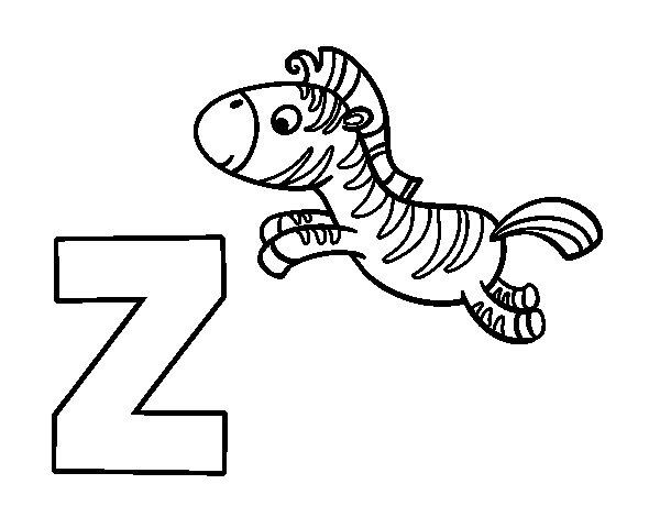 Desenho de Z de Zebra para Colorir