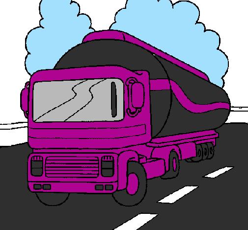 Desenho De Camiao Cisterna Pintado E Colorido Por Usuario Nao