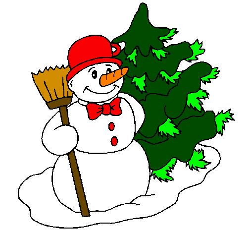 Desenho De Boneco De Neve E Arvore De Natal Pintado E Colorido Por