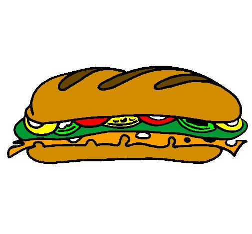 Desenho De Sanduiche Vegetal Pintado E Colorido Por Usuario Nao