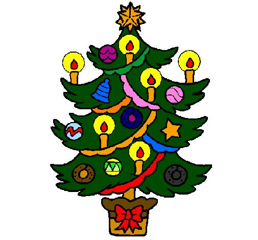 Desenho De Arvore De Natal Com Velas Pintado E Colorido Por