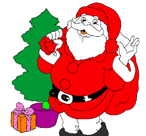 Desenho De Santa Claus E Uma Arvore De Natal Pintado E Colorido