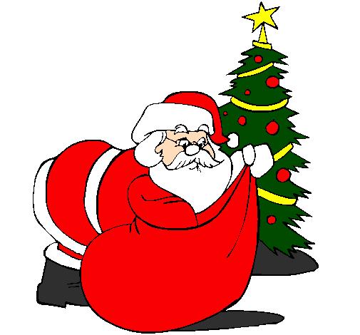 Desenho De Pai Natal A Distribuir Presentes Pintado E Colorido Por