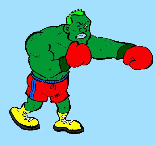 Desenho De Boxeador Pintado E Colorido Por Usuario Nao Registrado