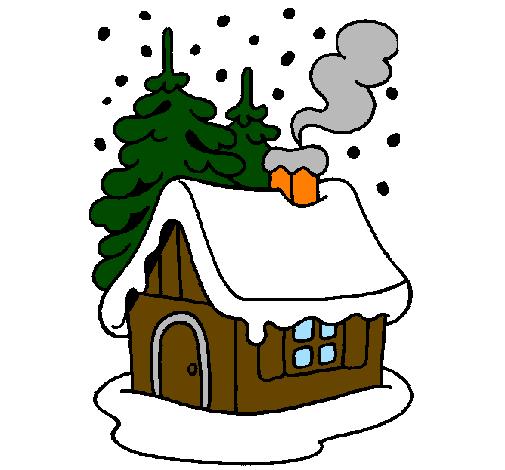Desenho De Casa Na Neve Pintado E Colorido Por Usuario Nao