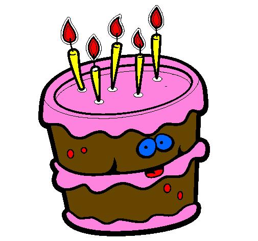 Desenho De Bolo De Aniversario 2 Pintado E Colorido Por Usuario