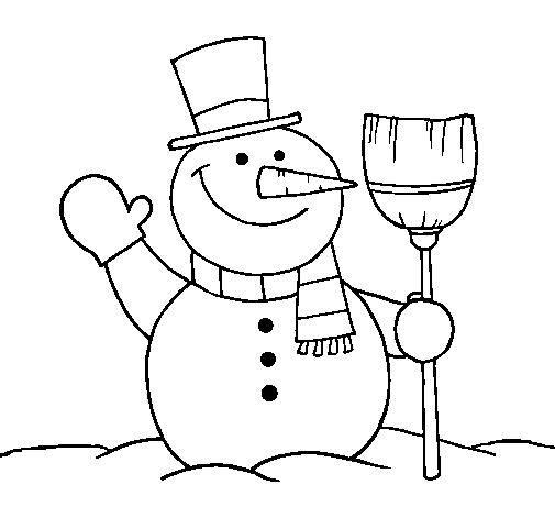 Desenho De Boneco De Neve Com Vassoura Pintado E Colorido Por